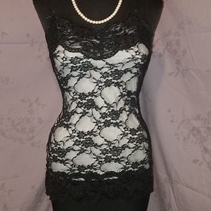 Studio Y black lacy tank top size small